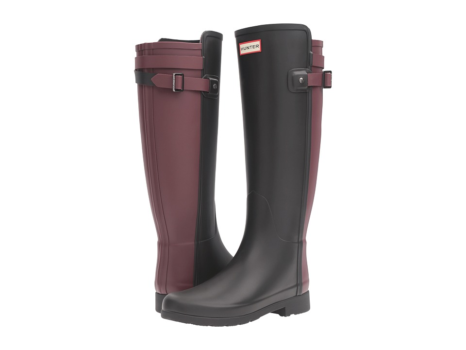Hunter Original Refined Back Strap Rain Boots (Black/Dulse) Women