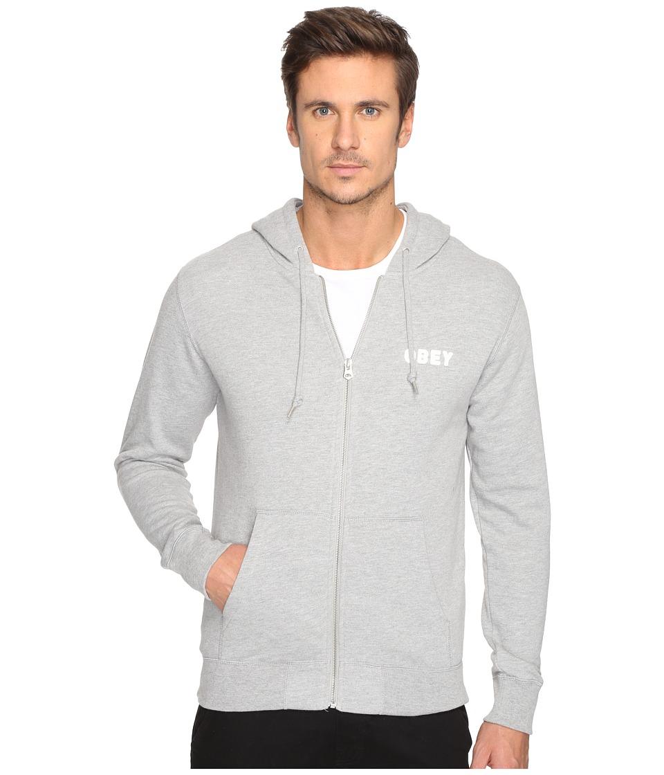 Obey - Foster Zip Hoodie (Heather Grey) Men's Sweatshirt
