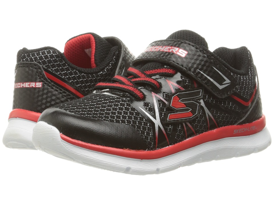SKECHERS KIDS - Flexies Fast Stepz (Toddler/Little Kid) (Black/Red) Boy's Shoes