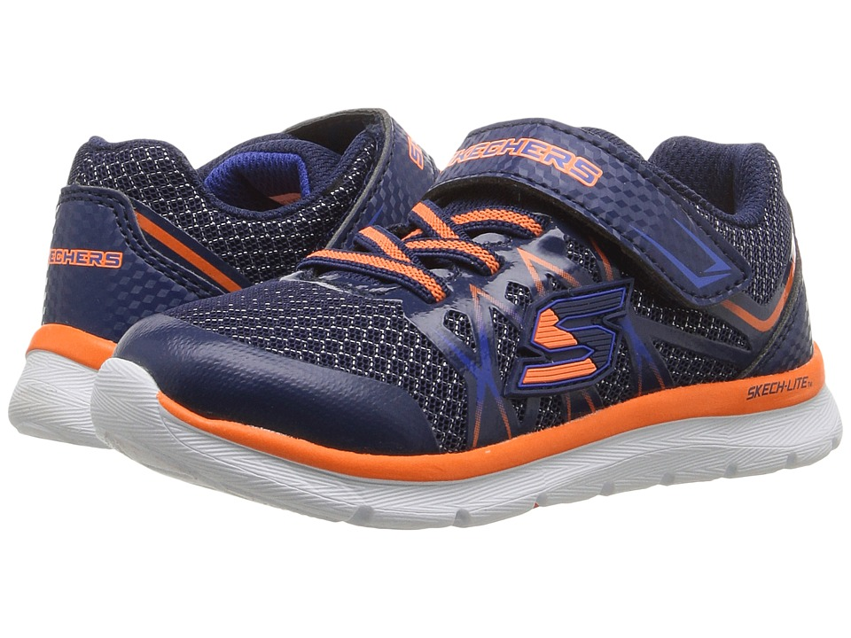 SKECHERS KIDS - Flexies Fast Stepz (Toddler/Little Kid) (Navy/Orange) Boy's Shoes