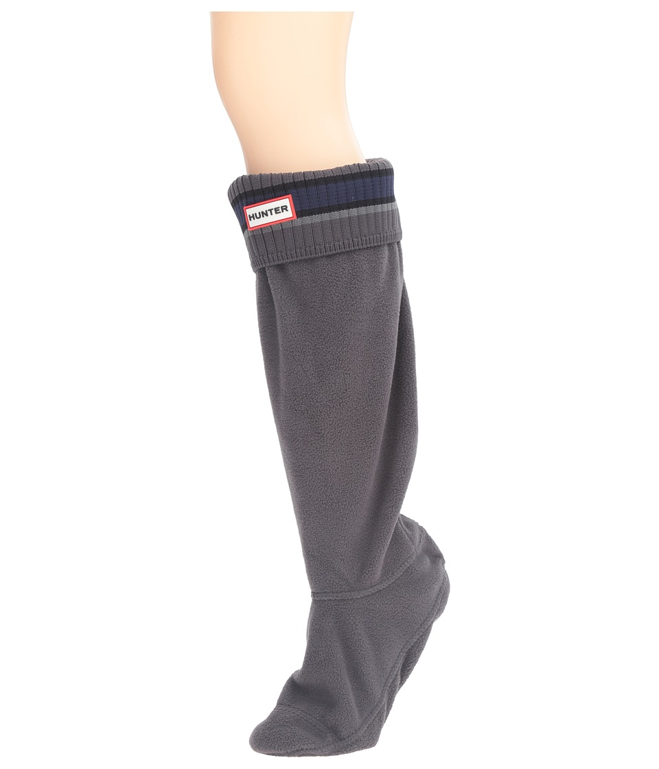 Hunter - Original Tall Buoy Stripe Stripe Cuff Nylon (Grey/Black) Women's Crew Cut Socks Shoes