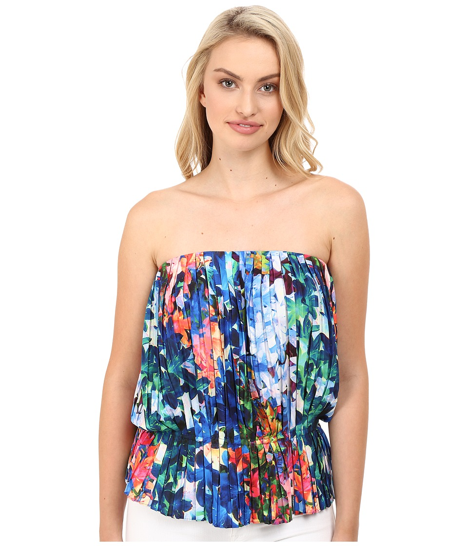 Nicole Miller - Tie-Dye Flowers Pleated Tube Top (Multi) Women's Clothing