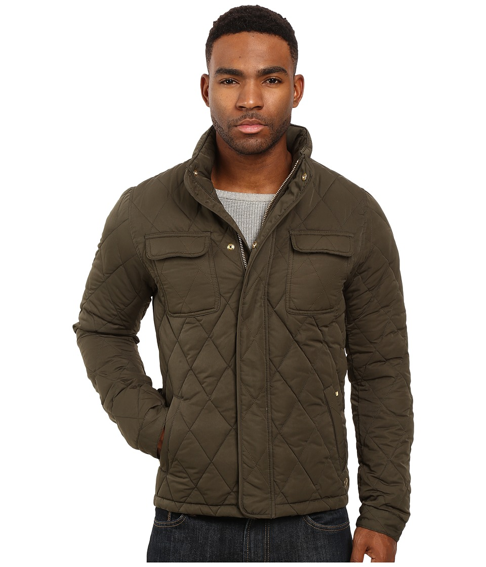 Scotch & Soda - Light Padded Quilted Jacket in Peached Nylon Quality (Army) Men's Coat