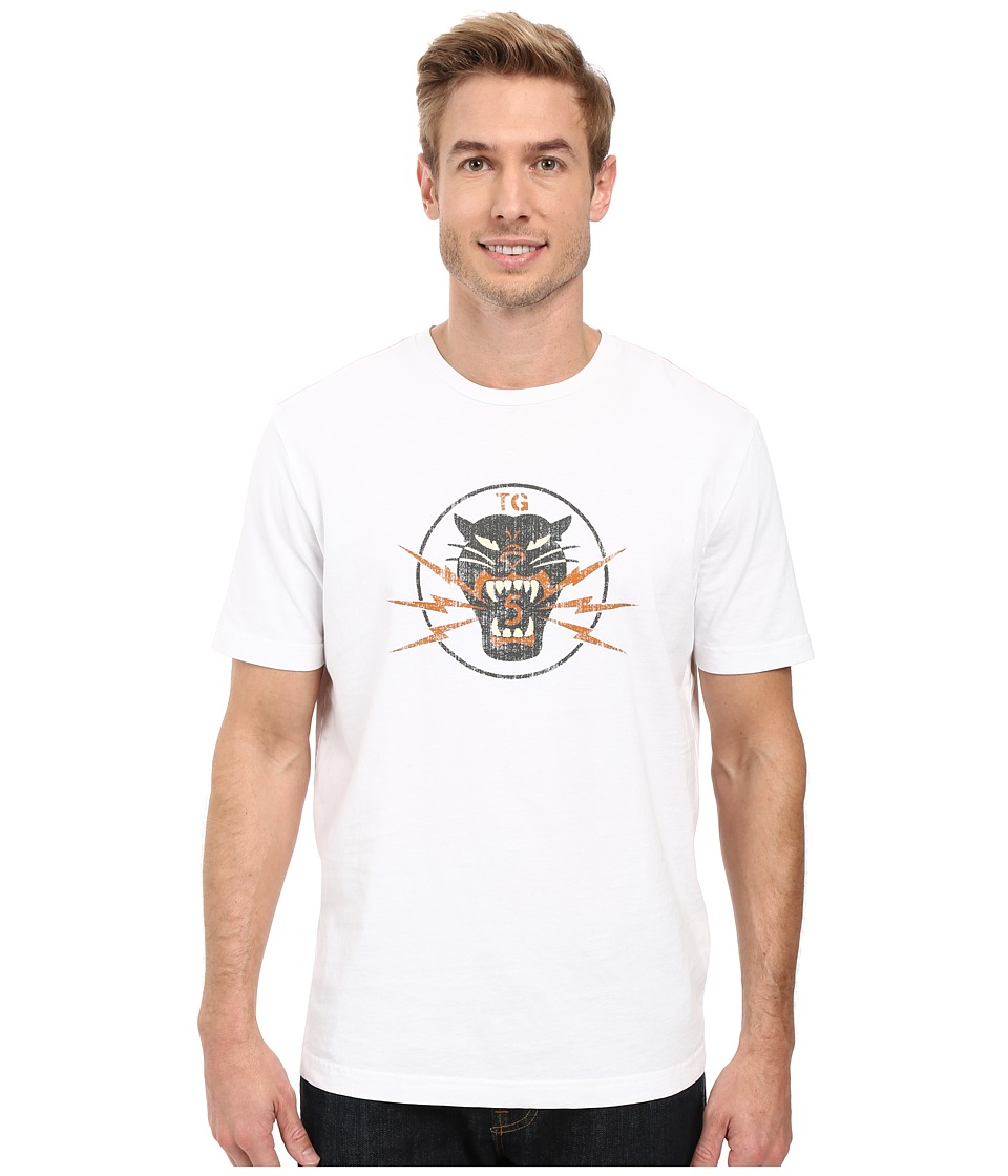 True Grit - Vintage Screen Print Lightning Tiger Short Sleeve Tee (Optic White) Men's T Shirt