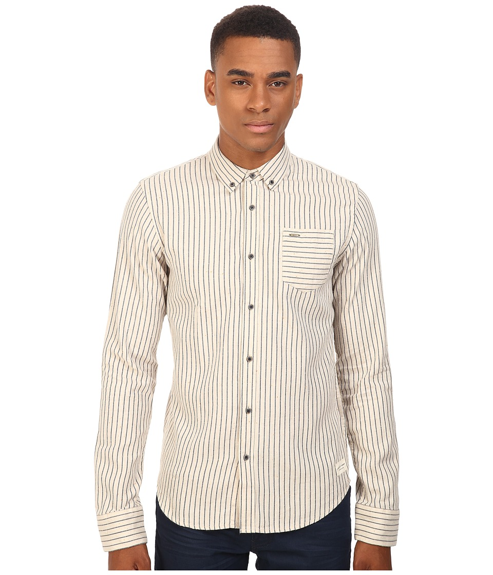 Scotch & Soda - Button Down Shirt in Brushed Cotton Quality (Cream Stripe) Men's Clothing