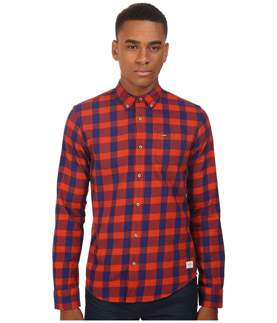 Scotch & Soda - Button Down Shirt in Brushed Cotton Quality (Red/Navy Check) Men's Clothing