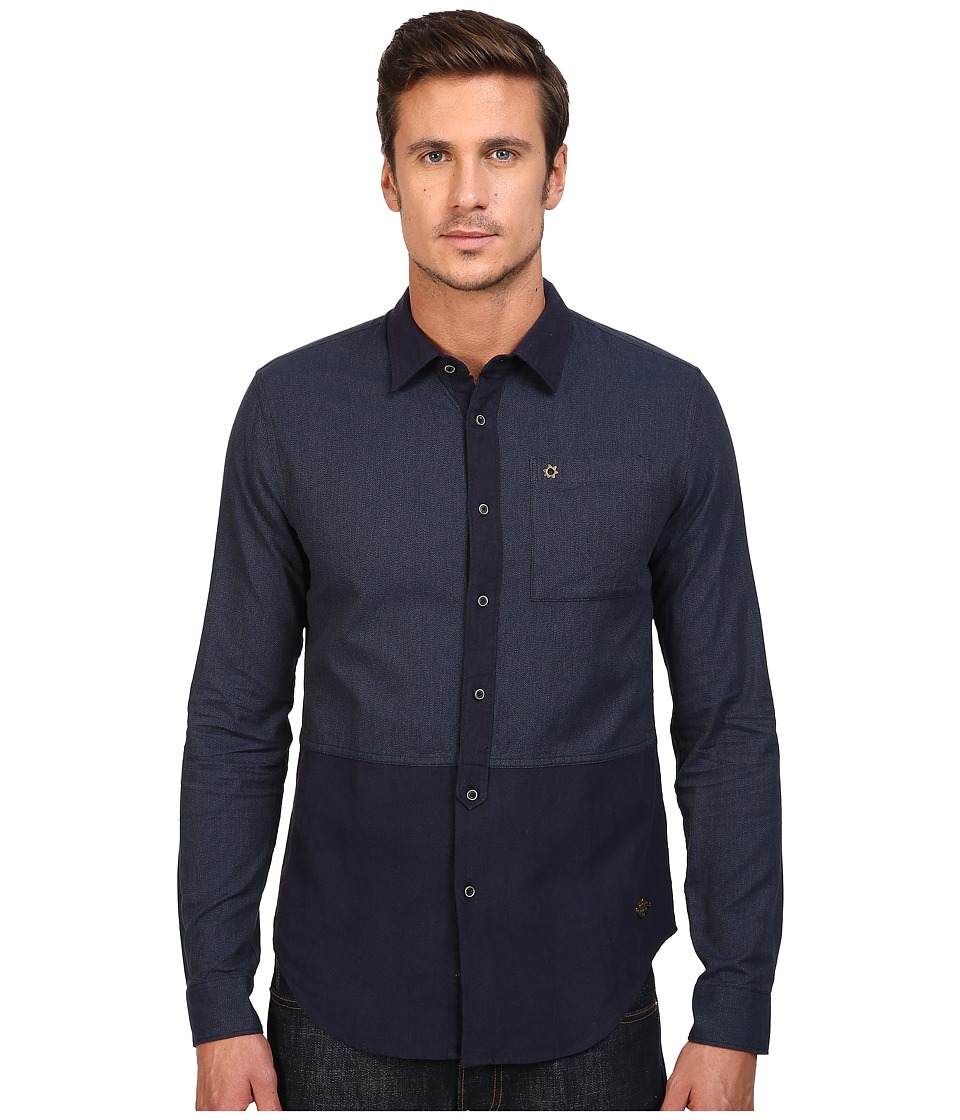 Scotch & Soda - Long Sleeve Shirt in Mix Match Brushed Cotton Qualities (Indigo Navy Block) Men's Clothing