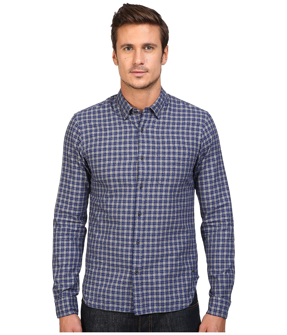 Scotch & Soda - Long Sleeve Shirt in Grindle Yarn Quality (Grey/Blue Check) Men's Clothing