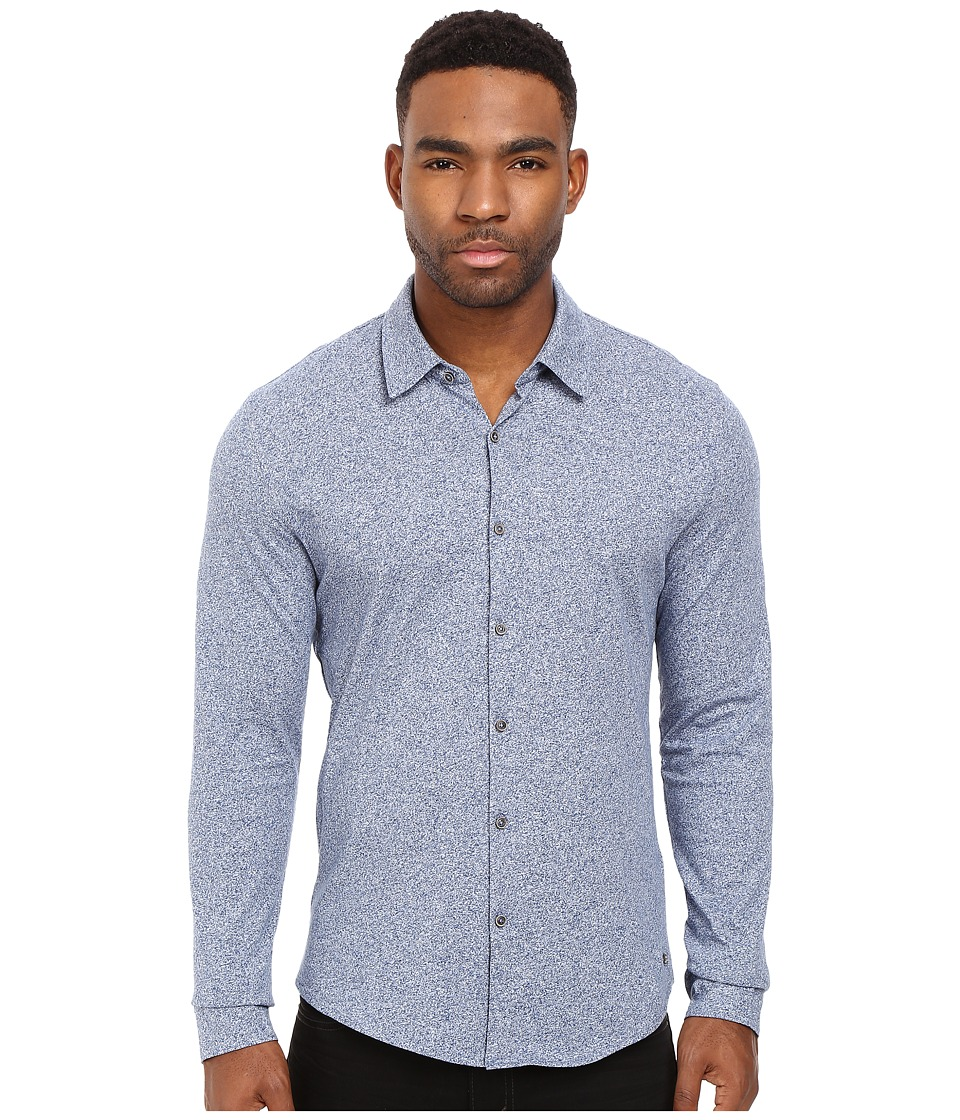 Scotch & Soda - Long Sleeve Shirt in Shiny Cotton Jersey Quality (Denim Blue Melange) Men's Clothing