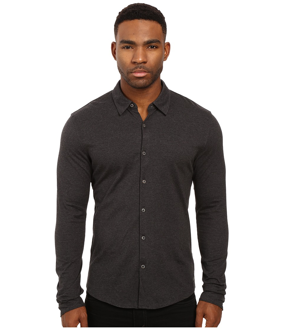 Scotch & Soda - Long Sleeve Shirt in Shiny Cotton Jersey Quality (Graphite Melange) Men's Clothing