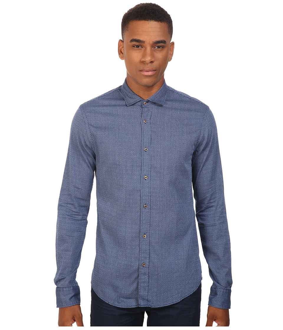 Scotch & Soda - Long Sleeve Shirt in Grindle Yarn Quality (Indigo Stripe) Men's Clothing