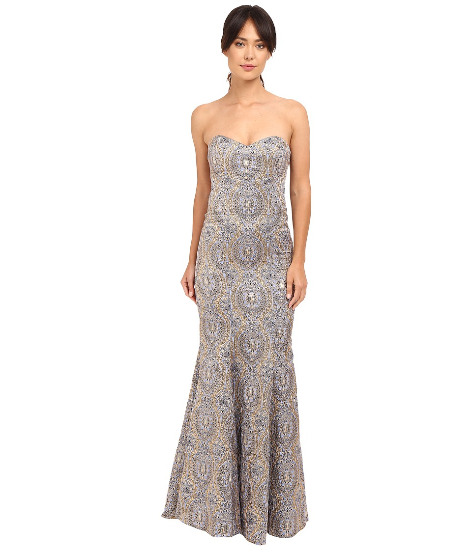 Nicole Miller Dakota Embroidered Gown (Lilac Multi) Women