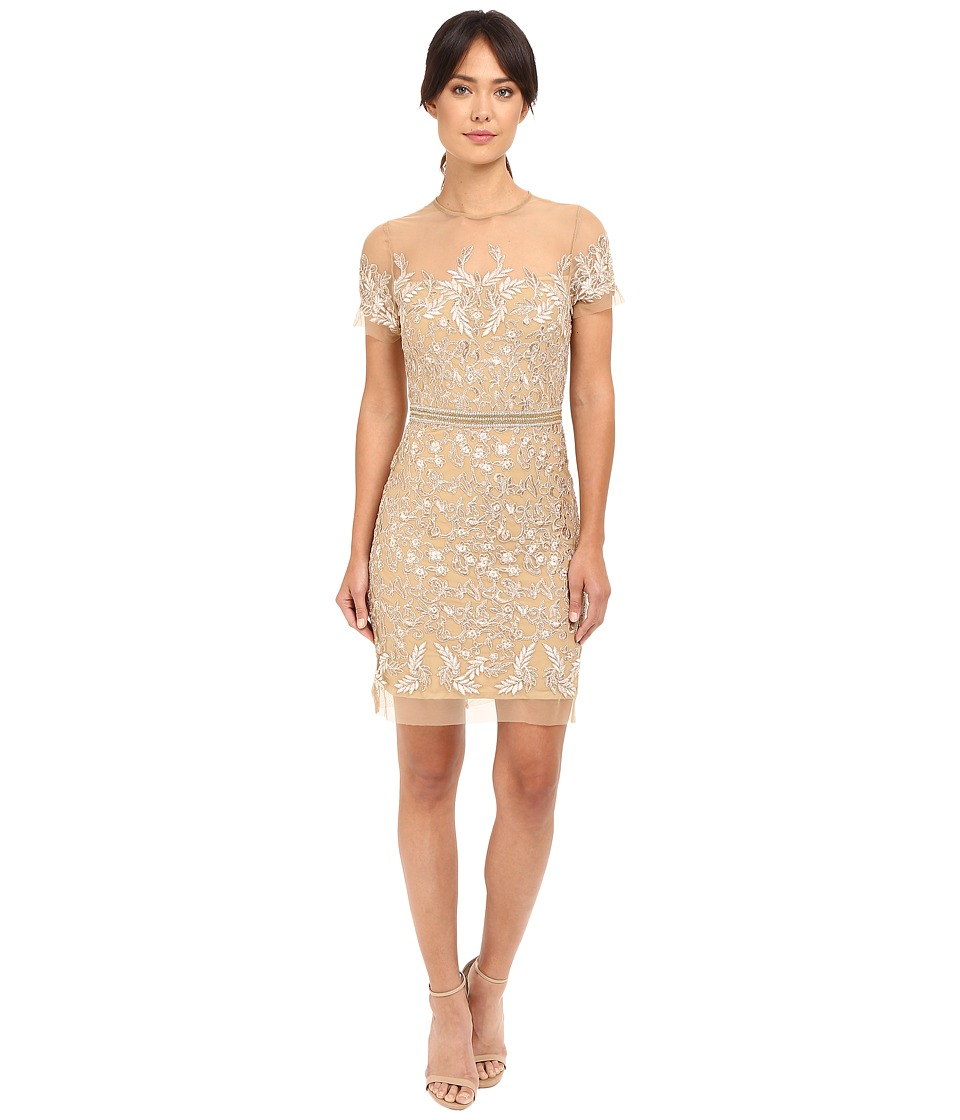 Nicole Miller Embroidered Tulle Short Sleeve Illusion Party Dress (Gold) Women