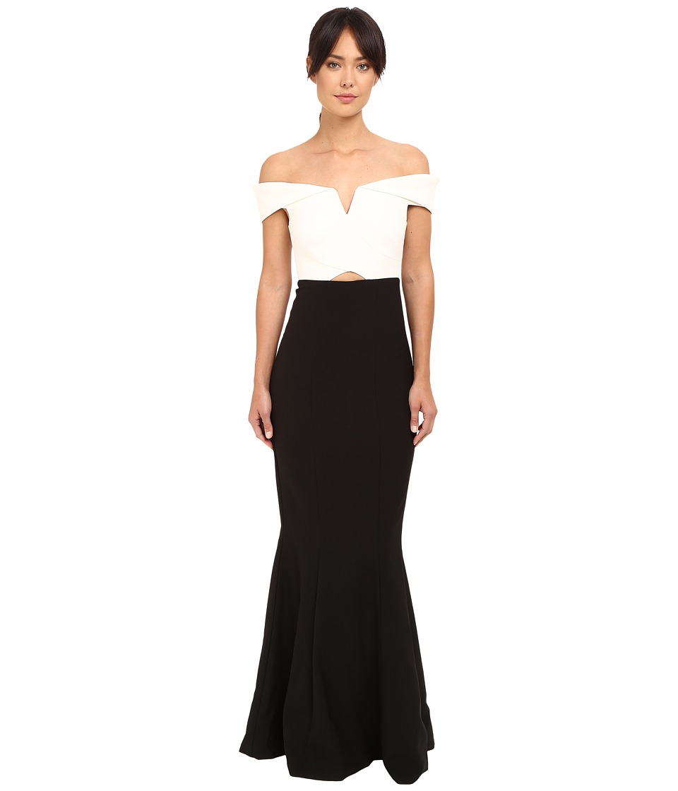 Nicole Miller Audrey Off Shoulder Color Block Gown (White/Black) Women