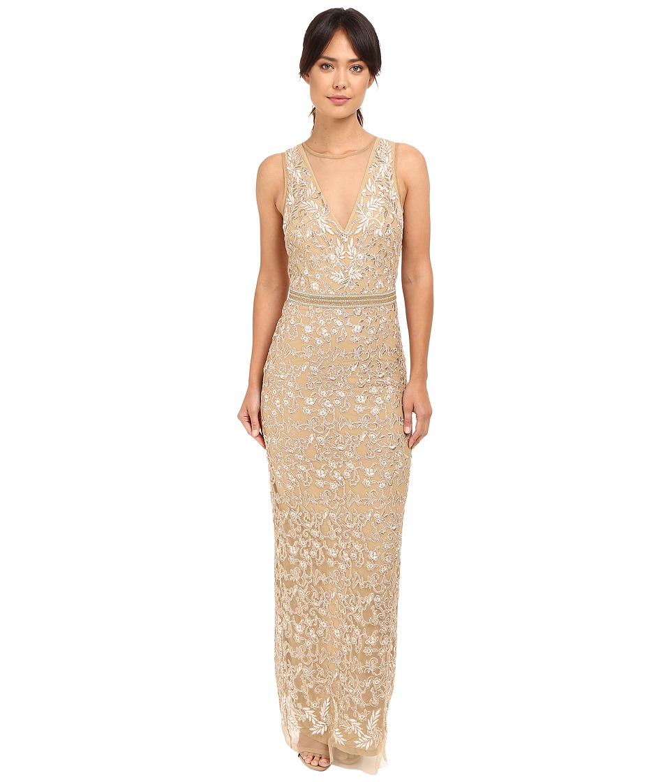 Nicole Miller Embroidered Tulle Gown (Gold) Women
