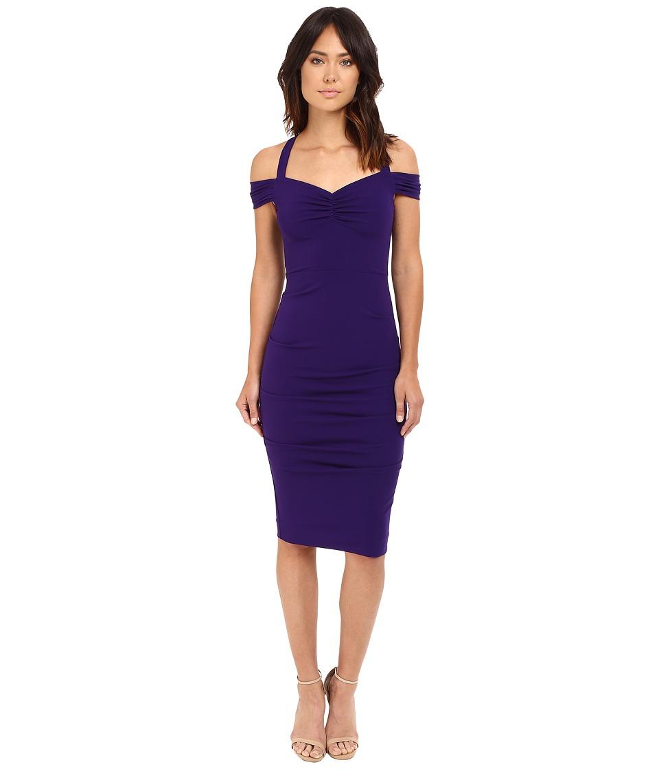 Nicole Miller Off Shoulder Susie-Q Sweetheart Dress (Majestic Purple) Women