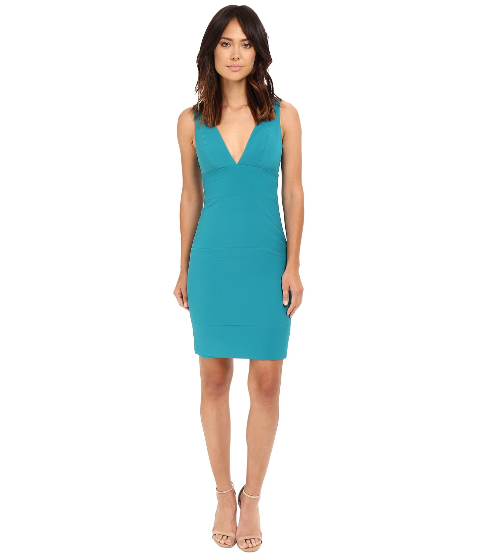 Nicole Miller Deep V Seamed Dress (Teal) Women
