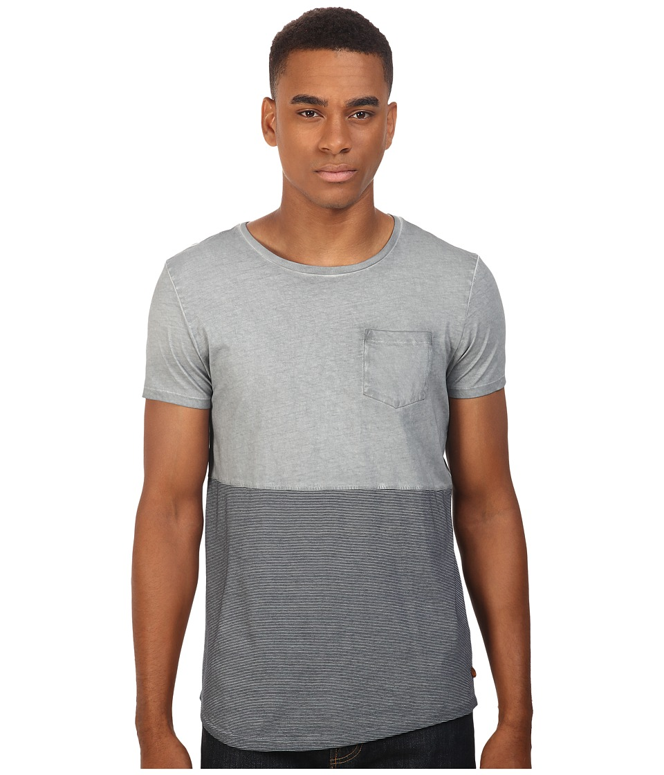 Scotch & Soda - Oil-Washed Crew Neck Tee in Jersey Quality with Chest Pocket (Grey Block/Navy Stripe) Men's T Shirt
