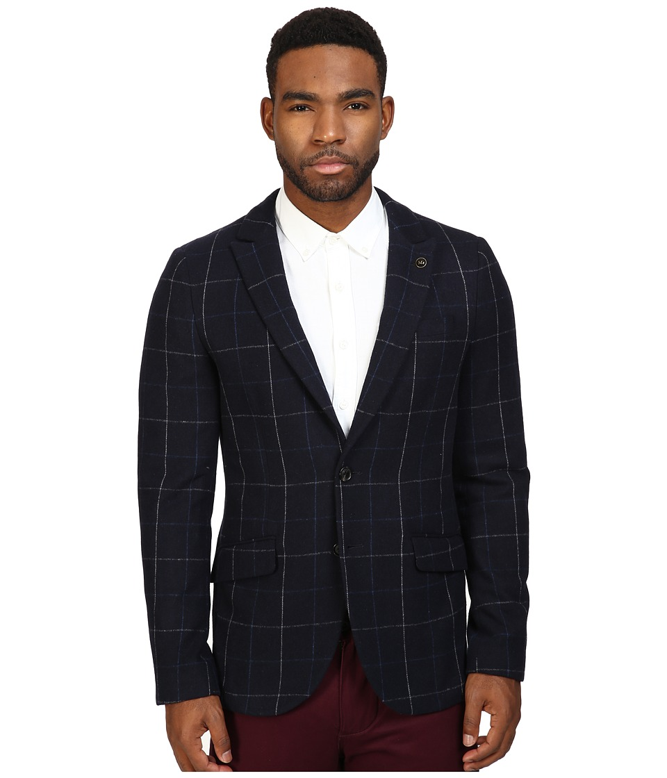 Scotch & Soda - Classic Blazer with Peak Lapel in Wool Quality (Navy Blue/White Check) Men's Jacket