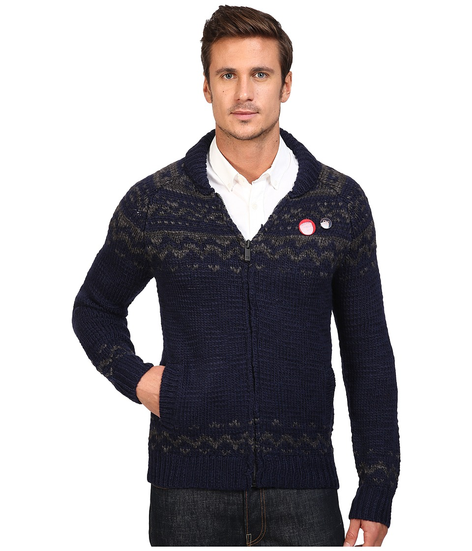 Scotch & Soda - Zip-Thru Cardigan in Chunky Slub Yarn Knit (Navy/Grey) Men's Sweater