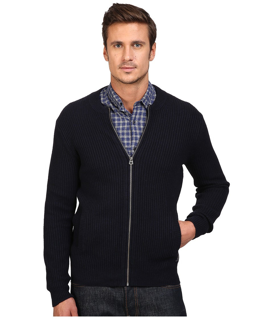 Scotch & Soda - Zip-Thru Cardigan in Merino/Cotton Quality (Navy Melange) Men's Sweater