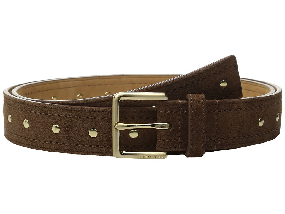MICHAEL Michael Kors - 32mm Suede Belt with Heavy Pick Stitch and Stud Detail (Dark Caramel) Women's Belts