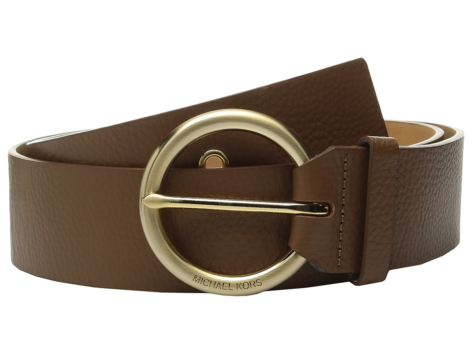 MICHAEL Michael Kors - 50mm Pebble Leather Belt with Grommet Details and 7 Holes (Luggage) Women's Belts