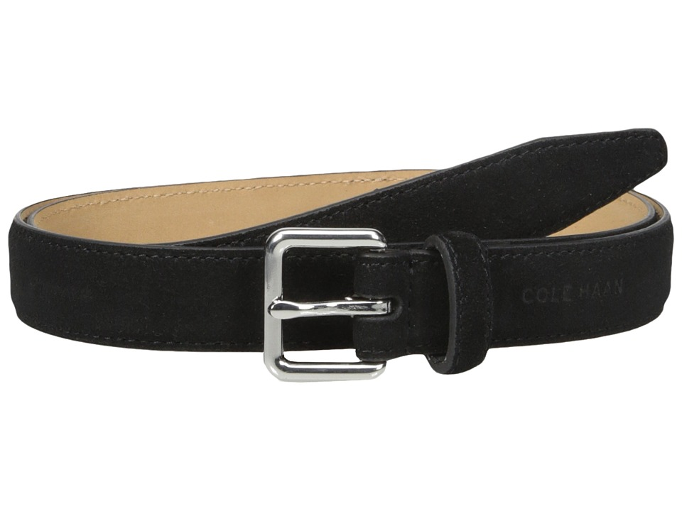 Cole Haan - 25mm Suede Belt with Harness Buckle (Black) Women's Belts