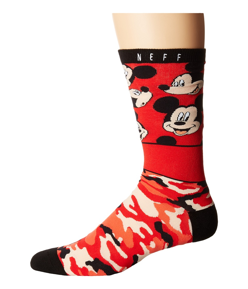 Neff - All Smiles Mickey Sock (Red) Men's Crew Cut Socks Shoes