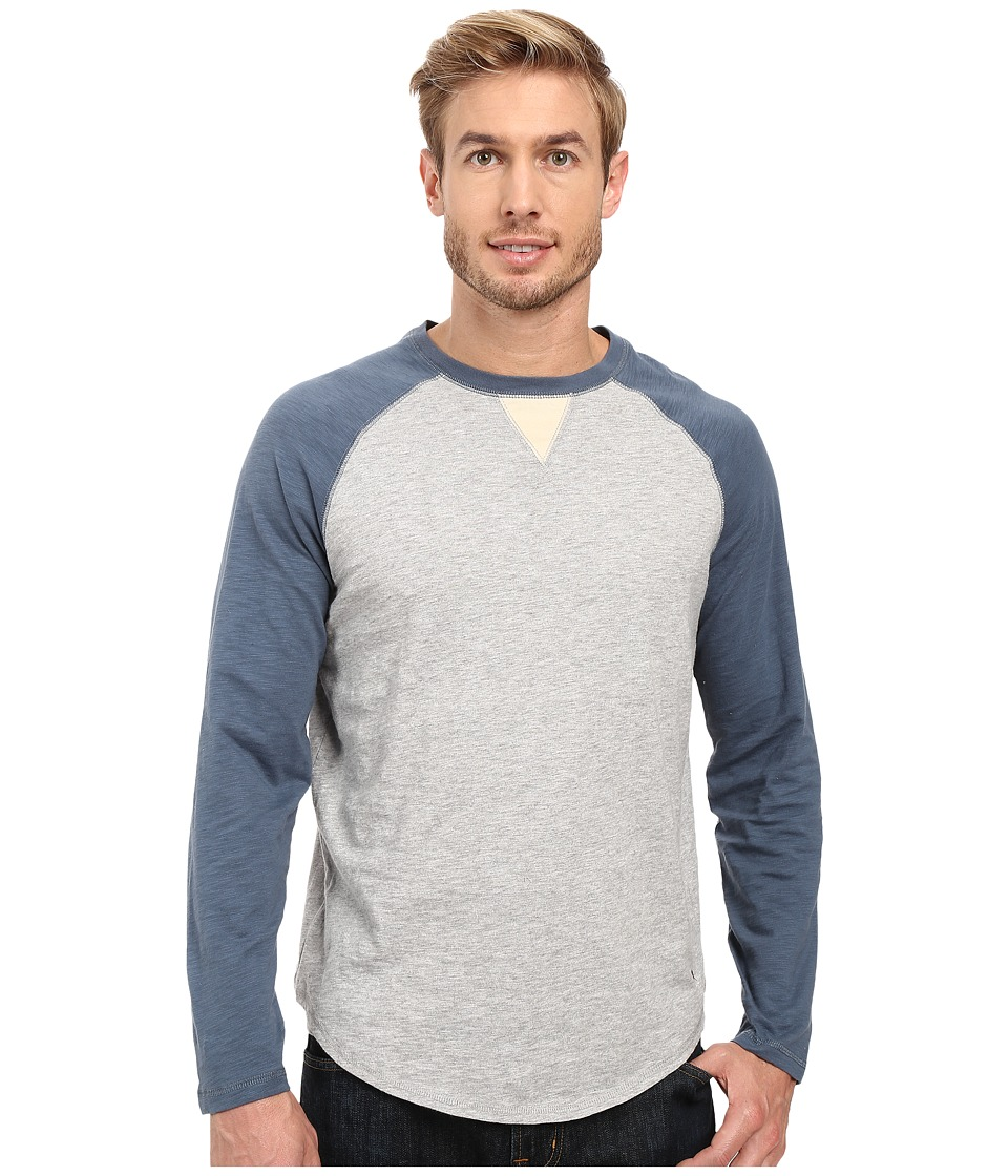 True Grit - Vintage Raglan Long Sleeve Tee with Stitch and Trim Detail (Vintage Indigo/Heather Grey) Men's T Shirt
