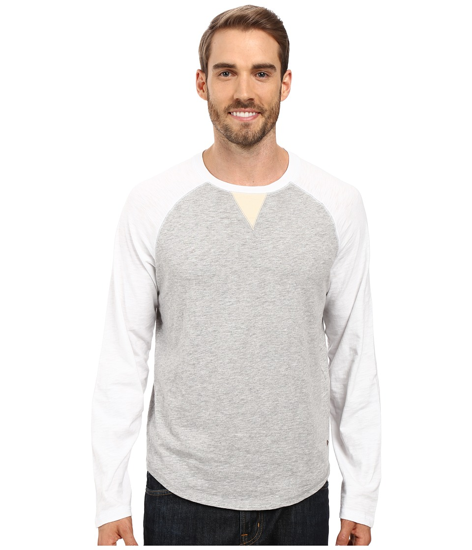 True Grit - Vintage Raglan Long Sleeve Tee with Stitch and Trim Detail (Optic White/Heather Grey) Men's T Shirt