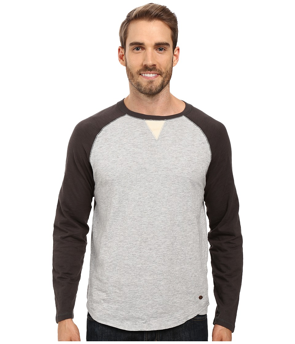True Grit - Vintage Raglan Long Sleeve Tee with Stitch and Trim Detail (Vintage Black/Heather Grey) Men's T Shirt