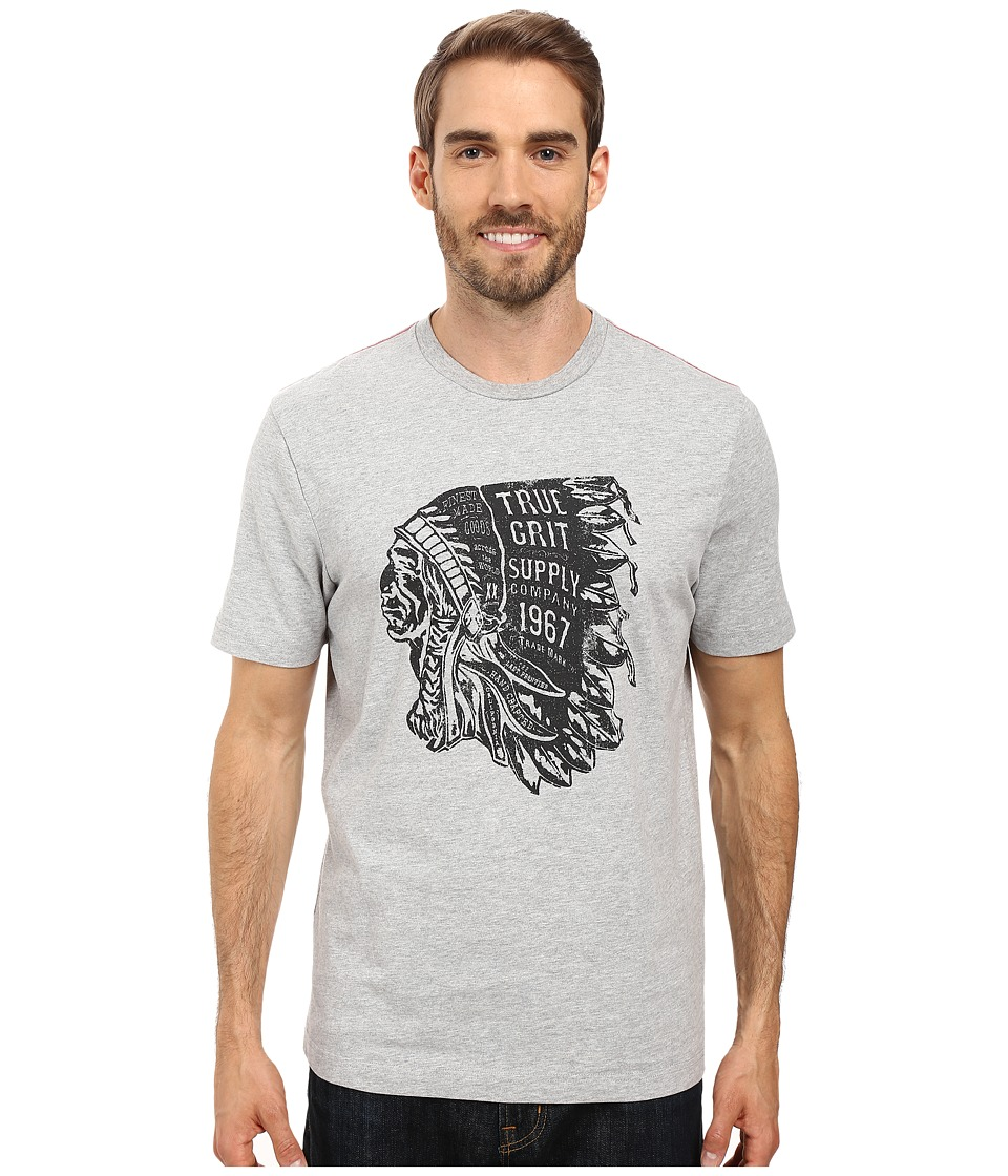 True Grit - Vintage Screen Print Chief Short Sleeve Tee (Heather Grey) Men's T Shirt