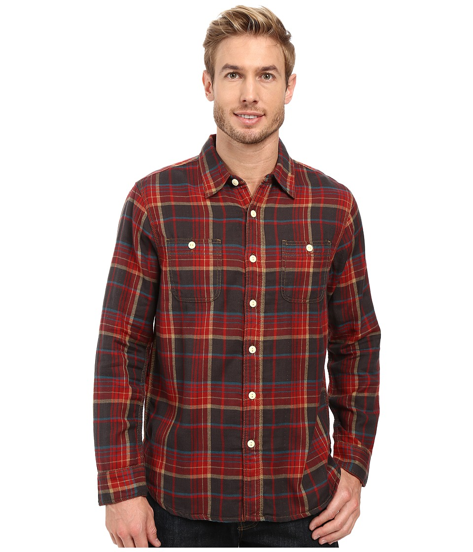 True Grit - Harley Double Light Freedom Plaid Long Sleeve Two-Pocket Shirt (Vintage Red) Men's Clothing