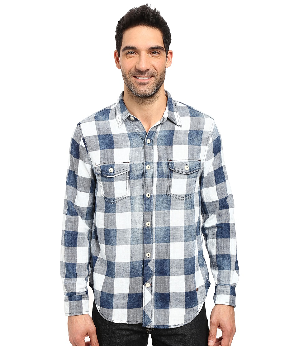 True Grit - Rockin Roll Indigo Buffalo Plaid Long Sleeve Two-Pocket Vintage Shirt (Denim) Men's Clothing