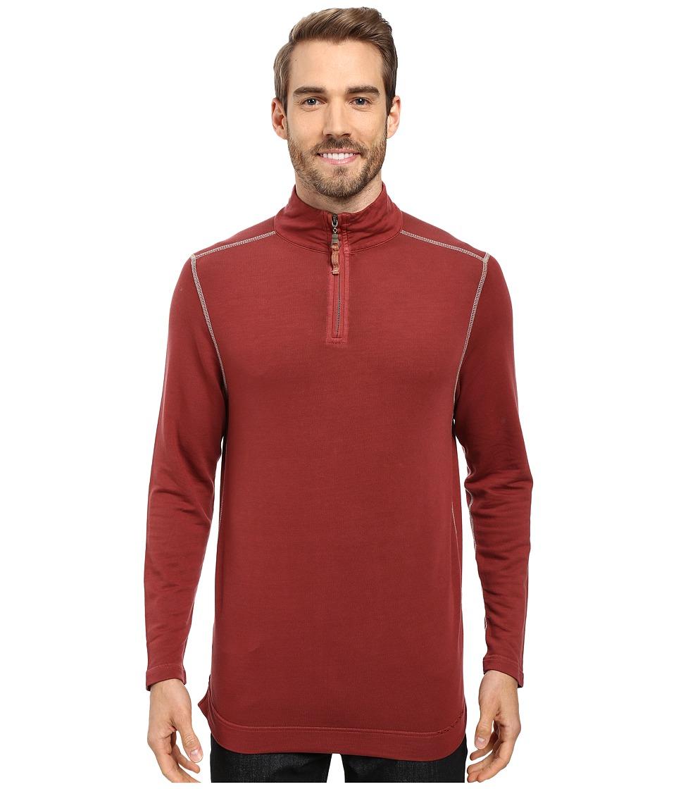 True Grit - Lightweight Tencel 1/2 Zip Pullover (Brick) Men's Clothing