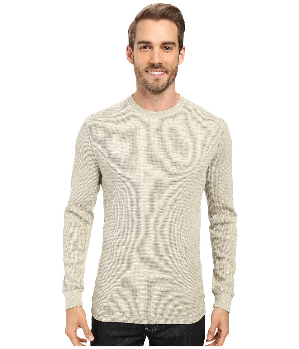 True Grit - Softest Slub Waffle Thermal Long Sleeve Side Panel Crew with Contrast Stitch (Pebble) Men's Clothing