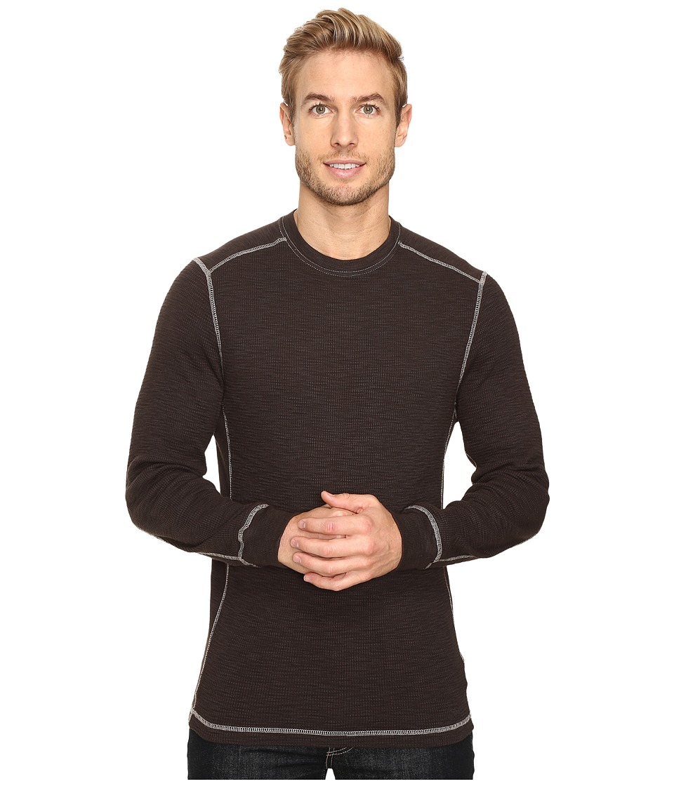 True Grit - Softest Slub Waffle Thermal Long Sleeve Side Panel Crew with Contrast Stitch (Vintage Black) Men's Clothing