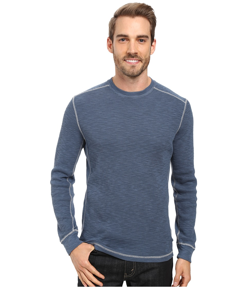 True Grit - Softest Slub Waffle Thermal Long Sleeve Side Panel Crew with Contrast Stitch (Vintage Indigo) Men's Clothing