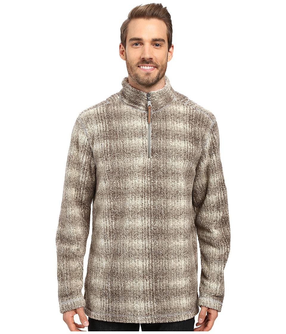 True Grit - Melange Shadow Plaid 1/2 Zip Pullover (Brown) Men's Clothing