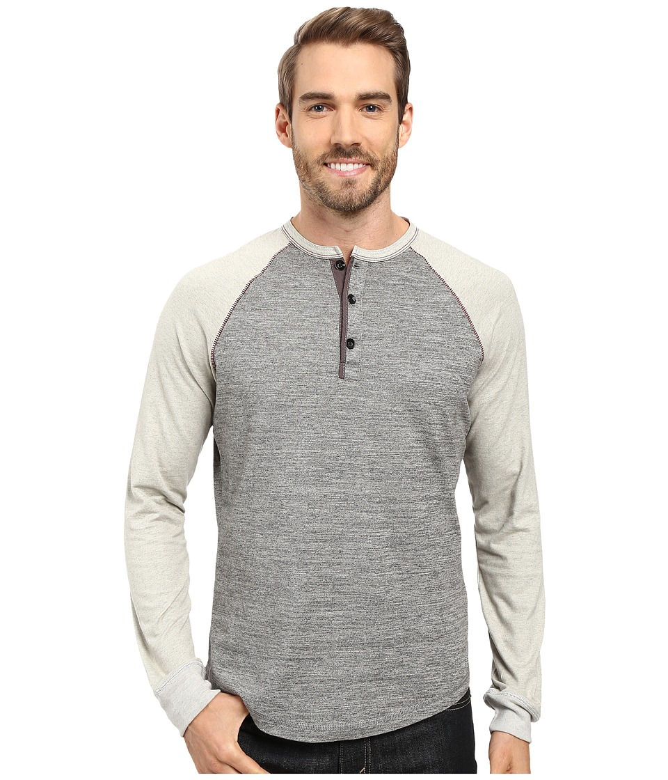 True Grit - Twisted Heathers Raglan Henley (Smoke) Men's Clothing