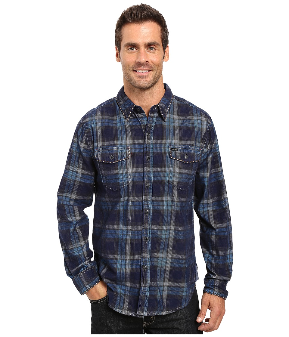 True Grit - Vintage Plaid Canyon Malibu Cord Long Sleeve Two-Pocket Shirt with Stitch (Blue) Men's Clothing