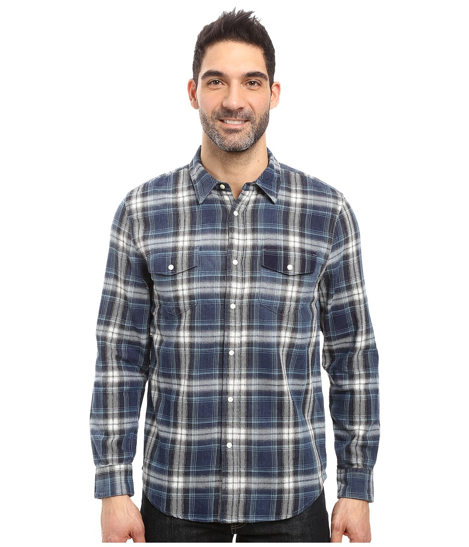 True Grit - Summit Plaid Two-Pocket Western Shirt with Chambray (Denim) Men's Clothing