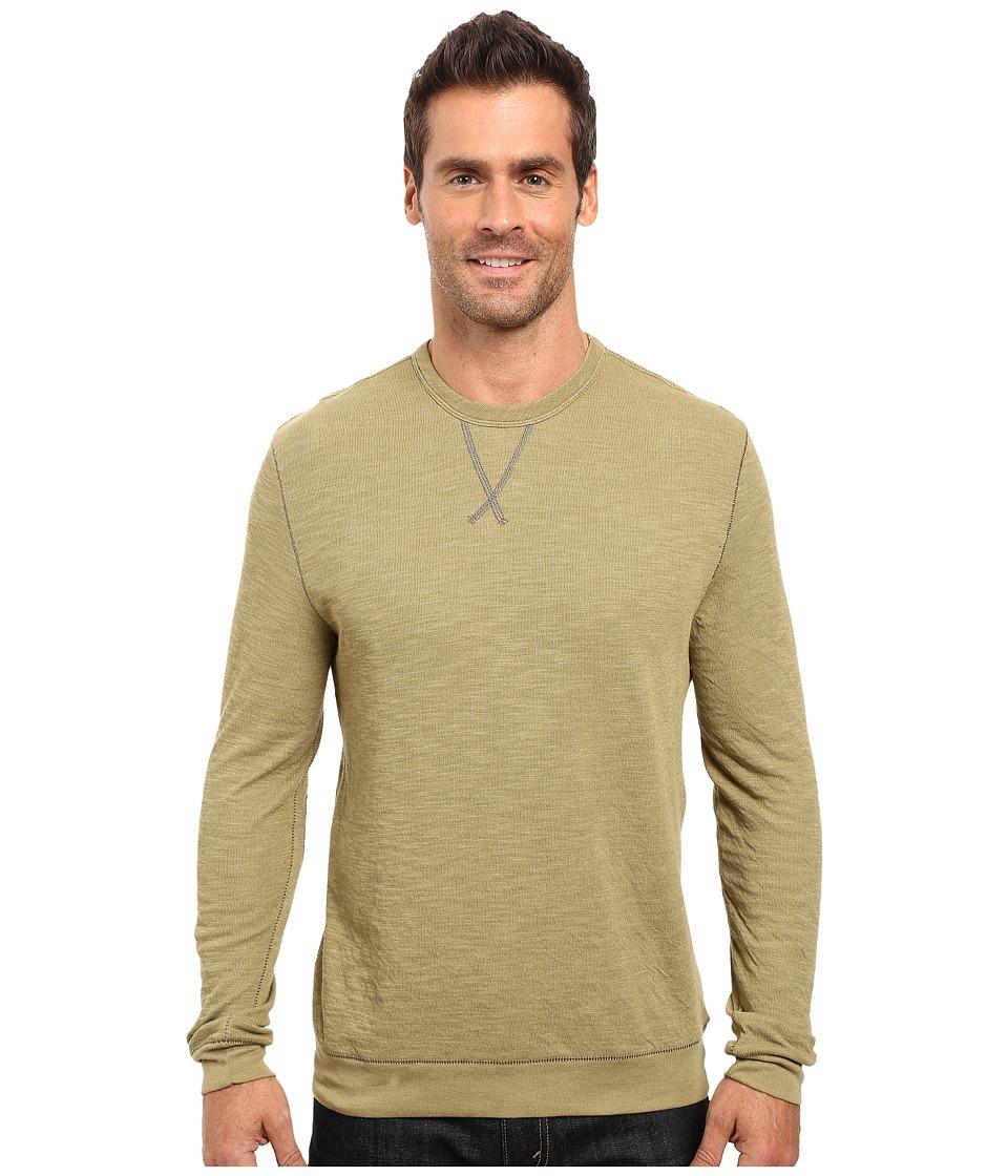 True Grit - Double Side Slub and Knit Crew Neck Sweatshirt w/ Stitch Details (Vintage Sage) Men's Clothing