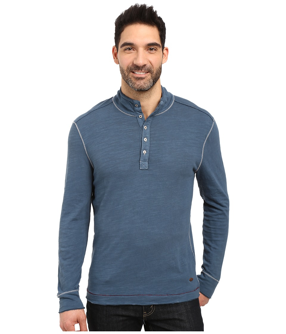 True Grit - Royal Slub Mock Up Henley with Stitch Detail (Industrial Blue) Men's Clothing