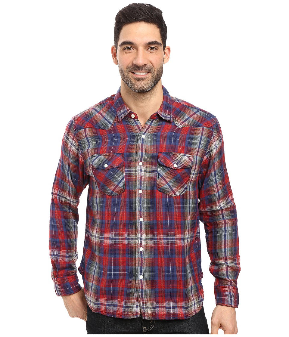 True Grit - Montana Plaid Long Sleeve Two-Pocket Western Shirt (Blue/Red) Men's Clothing
