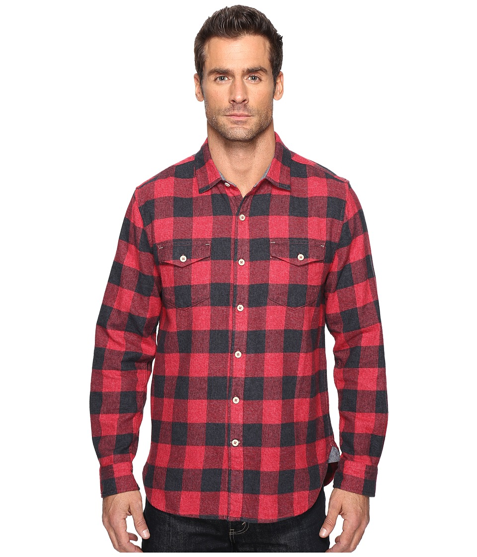True Grit - Vintage Melange Buffalo Check Long Sleeve Two-Pocket Shirt (Red) Men's Clothing