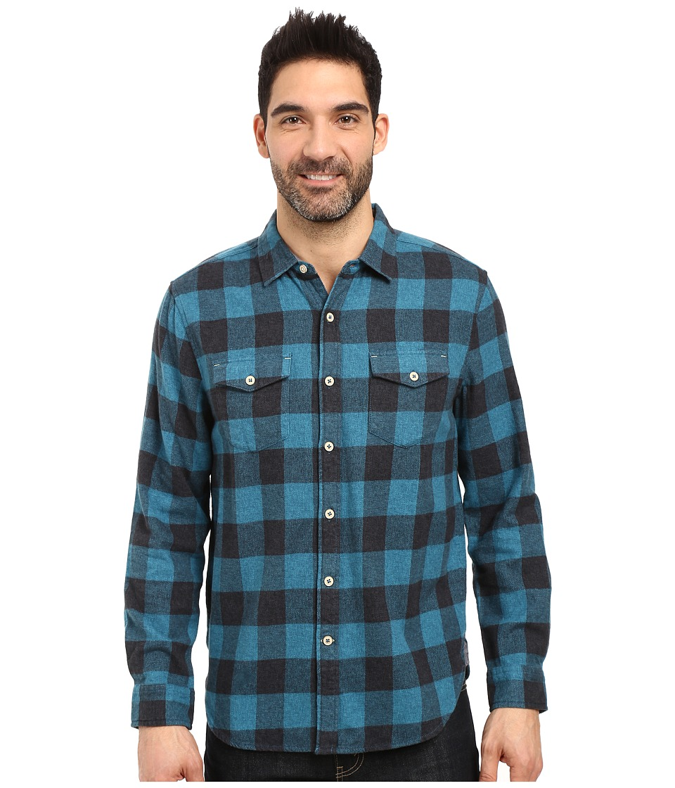 True Grit - Vintage Melange Buffalo Check Long Sleeve Two-Pocket Shirt (Blue) Men's Clothing