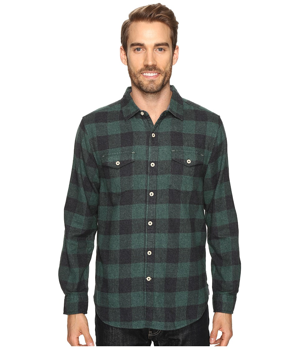 True Grit - Vintage Melange Buffalo Check Long Sleeve Two-Pocket Shirt (Green) Men's Clothing