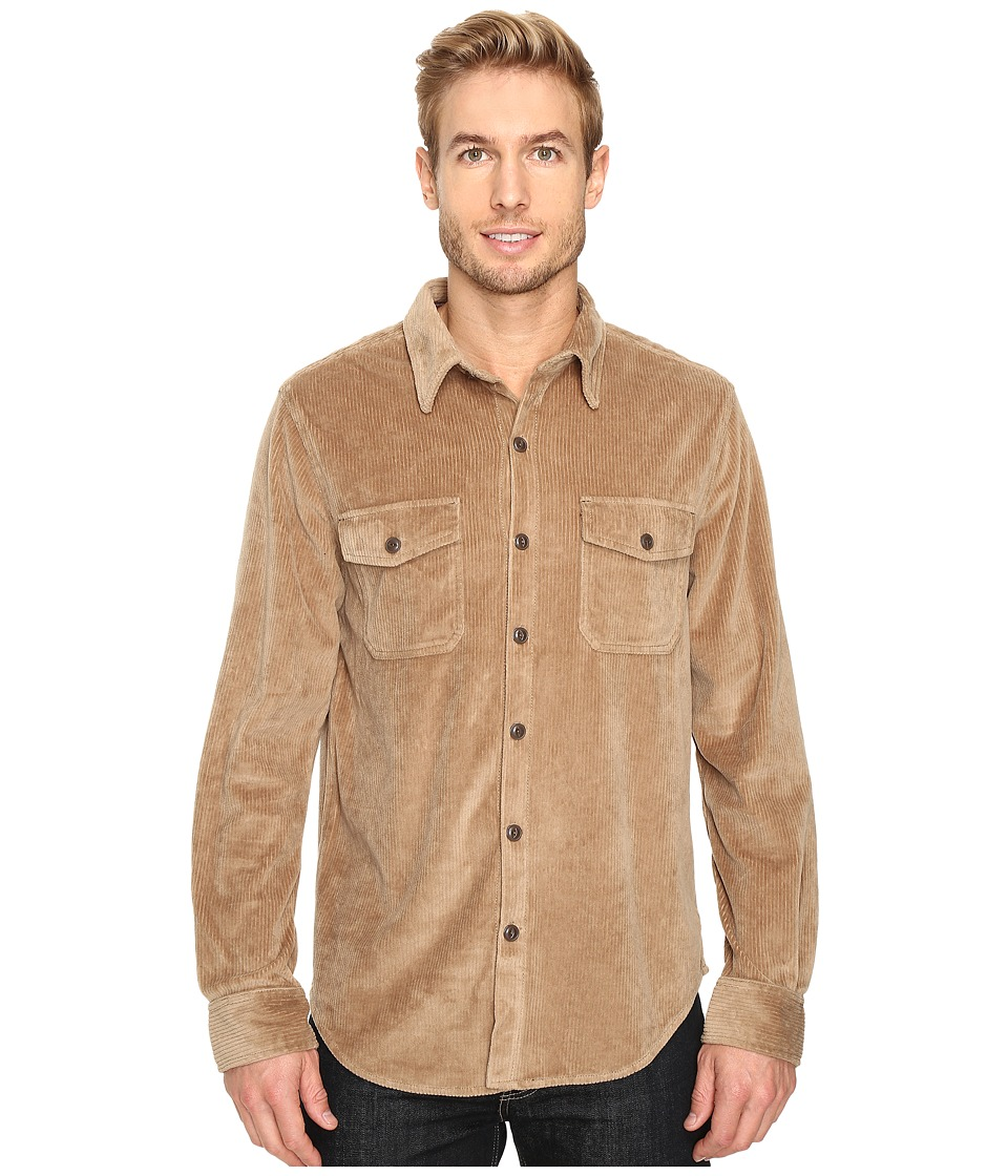 True Grit - Best Stretch Cord Long Sleeve Two-Pocket Shirt (Khaki) Men's Clothing